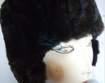 Winter hat, hat ear flaps, fausse-fourrure-cafe-noir-chocolat-marron, 54-55 cm / S, hat-hat, great cold winter