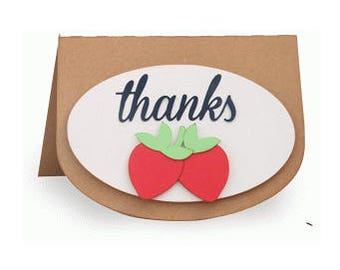 Thanks Strawberry Card , Pop Dots , Blank inside , PaperCut , Friend , Family