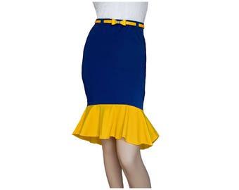 Navy or Blue + Yellow Mermaid Skirt