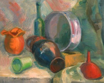 Vintage oil painting still life expressionism