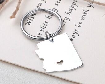 I heart Arizona keychain - Arizona keyring - Map Jewelry - State Charm - Map keychain