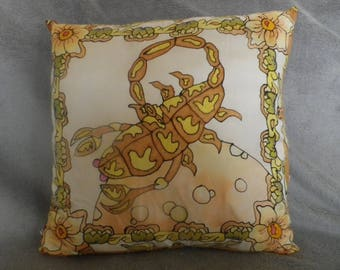 astrological sign of Scorpio @evysoie hand painted silk pillow
