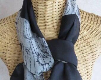 Black and grey perle@evysoie silk scarf