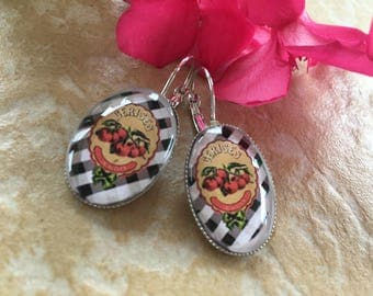 Earrings ' ear lever gingham cherry cabochons