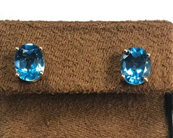Beautiful 14KT 585 Yellow Gold Faceted Large Oval Basket Prong Set Blue Topaz Earrings