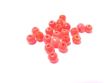 40 ROSE CORAL 7 MM CLEAR GLASS ROUND BEADS