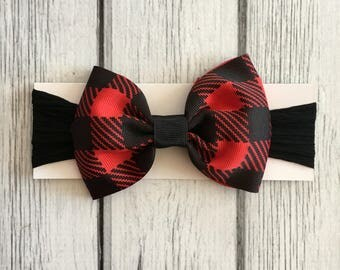 Baby Headband with Red Buffalo Check removable Bow
