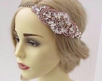 Rose Gold Opal Silver Diamante White Bridal Headpiece Headband Wedding Hair 3453