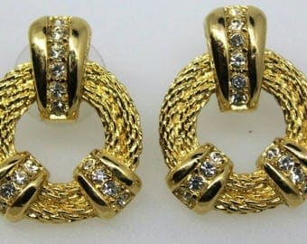 "Christian Dior Door Knocker Earrings Designer Hoop pierced Signed Vintage Textured Goldtone dainty Haute Couture Earrings high end 1"" small"