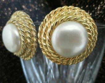 Faux Pearl Earrings Gold Tone Chunky Clip On button earrings Statement Runway wedding earrings Fashion earrings big earrings rope earrings