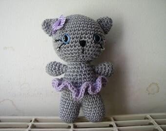 little grey cat crochet cotton with purple flower