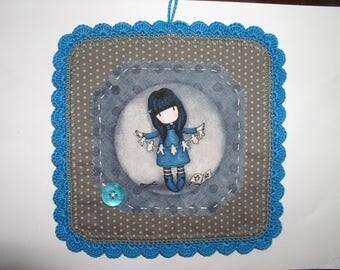 table decoration fabric, round crochet girl