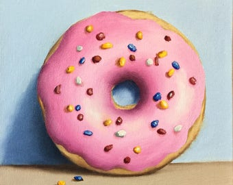 Sprinkles Donut, Ready to Hang Original oil painting still life by Jane Palmer, kitchen art, food art wall art doughnuts
