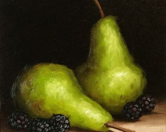 Pair of Pears with blackberries Original Oil Painting still life by Jane Palmer