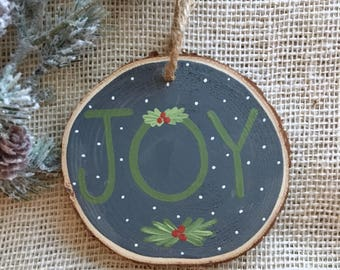 Tree slice ornament - Christmas ornament - hand painted ornament - tree ornament - handmade ornament