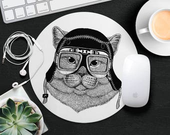 Cat Mouse Pad Animal in Glasses Cute Mouse Mat Funny Mouse Pad Round MousePad Hipster Mouse Mat Desk Accessories Animal Lover Gift iDea