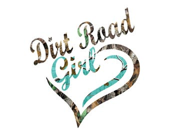 Jeep decal Dirt Road Girl Teal Camo