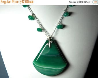 On Sale Green Onyx Gemstone Pendant Necklace with Sterling Silver Chain, Bail and Lobster Clasp