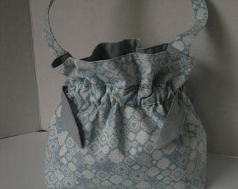 Handbag, Purse, Fabric, Spa Blue, Drawstring closure, handmade, fashion accessory, women or girls gift