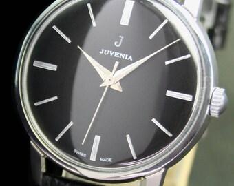 Vintage JUVENIA Winding Steel Mens Wrist Watch - 9302
