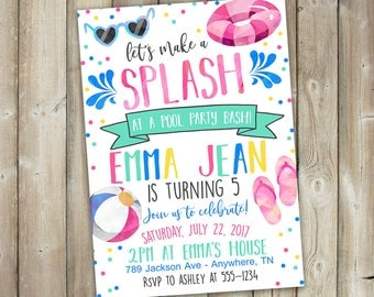 Pool Party Birthday Invitation - Let's Make a Splash - DIGITAL FILE