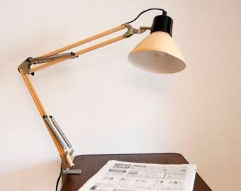 Vintage desk lamp - Old Industrial lamp - Articulated light - Salmon pink architect lamp - Floor lamp - French standard lamp 60s