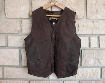 Brown leather vest - Mens vest - Motorcycle vest - Biker vest - Vintage vest - Western vest - Leather waistcoat - Steampunk - Leather jacket