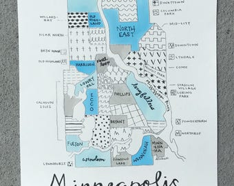 Minneapolis Neighborhoods Map with raised borders
