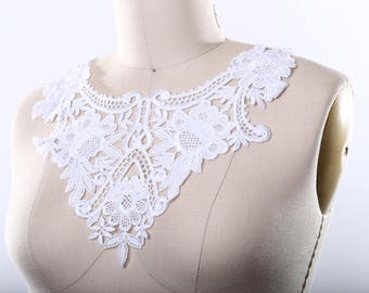 Vivanna's White Venice Lace Collar Applique Elegant Rich and Durable. Hard and Sharp Edges