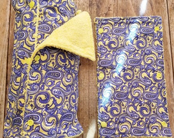 UnPaper Towel, 18 Towels, Blue Paisley on Yellow & Yellow Microfiber, Convenient Select a Size, Re-Usable Towels, Ready to Ship, MarjorieMae