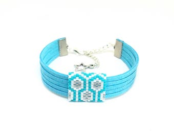 Bee Apis blue, white and silver suede and bead weaving bracelet with miyuki beads