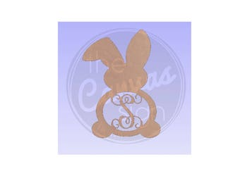 MONOGRAM BUNNY - Easter - Blank - Unfinished Wood Cutout - DIY - Wreath Accent, Door Hanger, Ready to Paint & Personalize