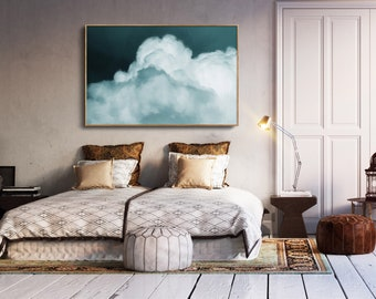 Modern wall art, Abstract wall art, Living room art, Bedroom wall art, Cloud Art, Cloud Painting, blue wall art, Minimalist print, Canvas