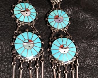 1970s Vintage Pawn Turquoise and Sterling Silver Zuni Native American Sunface 3 Tier Hand Inlay Clip on Earrings