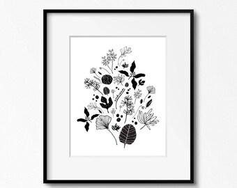 Flora 3 - Botanical Art Print Black and White Illustration