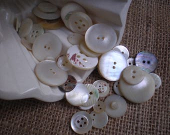 Vintage Mother of Pearl/Shell Buttons Lot of 45 Assorted Buttons Vintage Buttons Crafting/Sewing Supplies Haberdashery