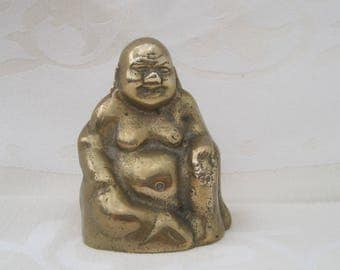 "SALES - Adorable small laughing Buddha figure - Buddism Thailand - made of brass / yellow copper - height 3"" / 7,5cm"