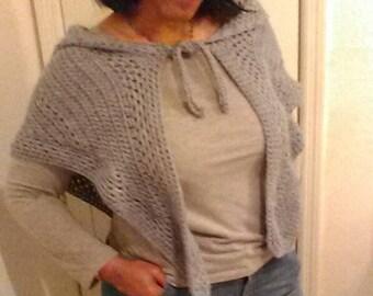 Crocheted hooded shawl