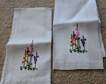 Pair of Vintage Linen Napkins with Cross Stitching