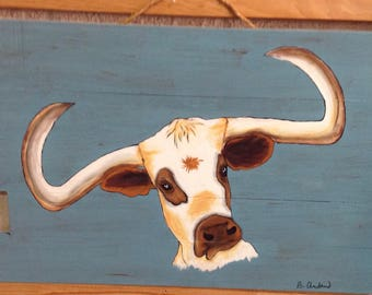 Hand painted longhorn cow art sign
