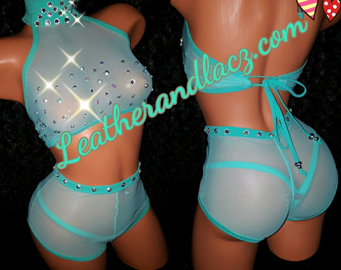 Butterflied High Waist Scrunch butt, Ruched Booty Shorts, Exotic Dance-wear w/Stones and Thong, Stripper Outfit, Crop Top, Sexy Club-wear
