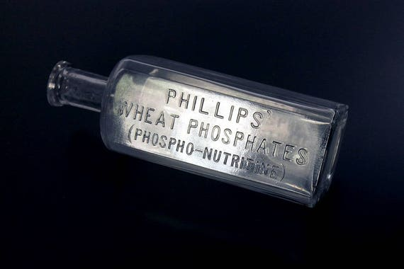 Antique Bottle, Phillips' Wheat Phosphates, Clear Glass, Embossed, Tooled Top, Circa 1870s, Medicine,  Cure, Pharmaceutical Bottle
