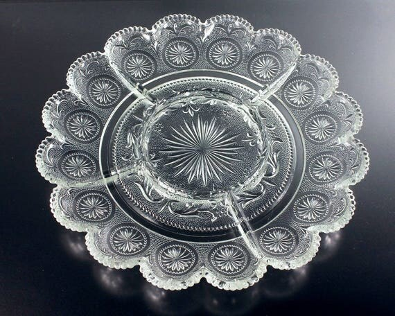 Divided Relish Tray, Brockway Glass Co., American Concord, Pressed Glass, Clear Glass, Sandwich Glass, Textured