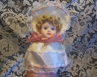 Victorian Porcelain Doll Face Christmas Ornament