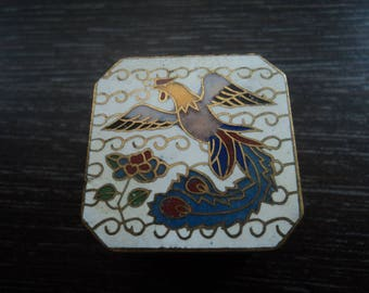 Pretty Enamel pill box with firebird