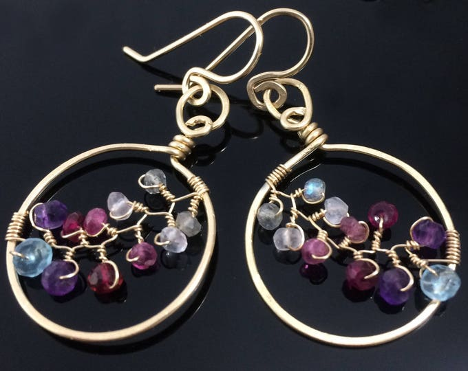 Gold Vine Earrings with Mixed Gemstones, Handmade Gold Leaf Hoops OOAK Jewelry Gift for Wife