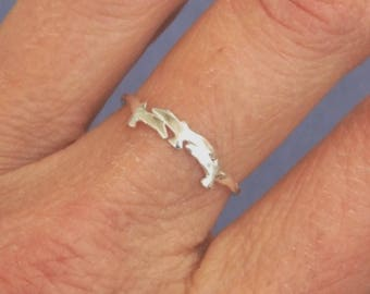 Sterling Silver Ring, Silver Bird Ring, Three Birds Ring, Silver Band Ring