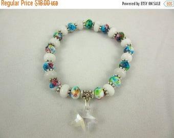 ON SALE Beaded Bracelet, 7inch Bracelet, Handmade Bracelet, Starfish Charm, Beach Jewelry, Resort Jewelry, Stretch Bracelet, Glass Jewelry