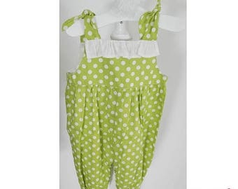 SALE baby girl romper in green with polka dots
