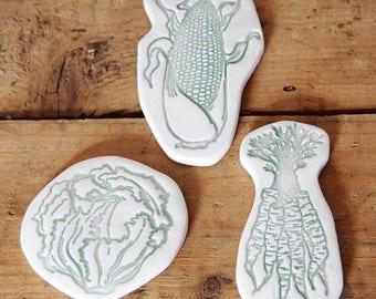 Refrigerator magnets - Summer vegetables illustrations - Corn - Lettuce - Carrots